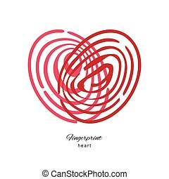 Fingerprint Red Heart Isolated On White Background