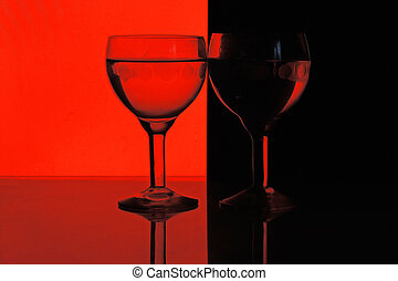 glass of water on red black background