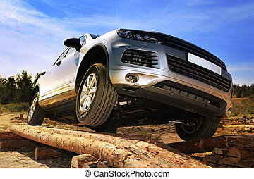 test-drive of SUV - test drive of SUV car with obstacles on...