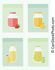 Jam and juice isolated cards in flat style - Jars of jam and...