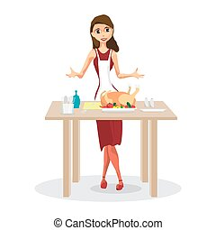 Beautiful young woman cooking traditional turkey in the kitchen. Cartoon style vector illustration isolated on white background