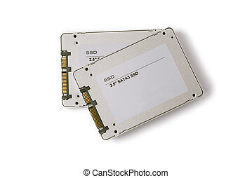 couple solid state SATA drives on the white background, two...