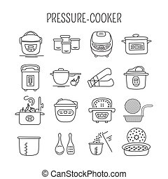 Pressure cookers set - Hand drawn thin line icons set,...