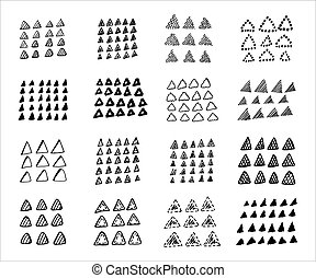 Collection of hand drawn triangles