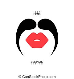 Ladies and gentlemen picture. Lips and mustaches seamless...