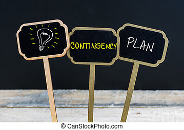 Concept message CONTINGENCY PLAN and light bulb as symbol...