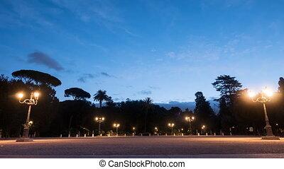 Dawn at Pincio. Garden Villa Borghese, Rome, Italy. Time...