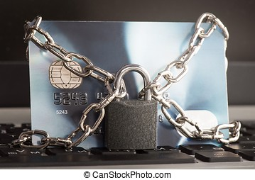Credit Card Security Concept - Close up view of a secure...
