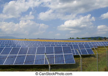Rows of photovoltaics in the countryside