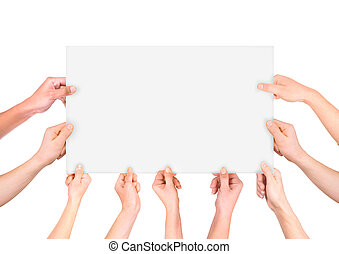 lot of hand holding white banner isolated on white background