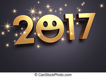 2017 Greeting card for smiling - Gold 2017 New Year with a...