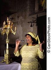 Gospel songs for the Lord - Gospel singer in a dark medieval...