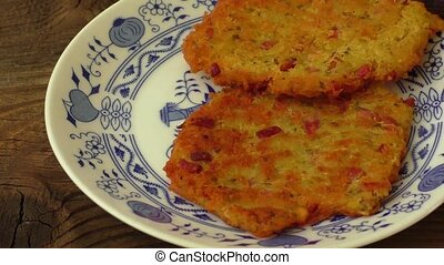 Homemade potato pancakes on a plate