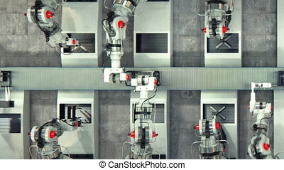 Robotics work in production line of 3d printer parts at...