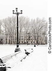 lantern and bench in winter - a place to rest lantern and...