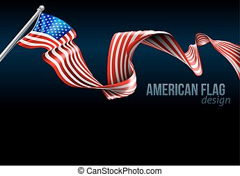 American Flag Design - An American flag ribbon background...