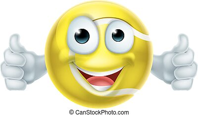 Cartoon Tennis Ball Thumbs Up Man Character - A happy...