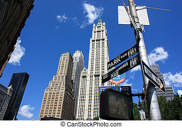 Skyscrapers of Manhattan. Pointers streets. Skyscrapers on a...
