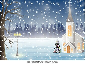 Winter landscape with church, Christmas night background