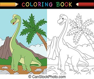 Cartoon brachiosaurus coloring book