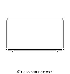 LCD television icon in outline style isolated on white background. Household appliance symbol stock vector illustration.