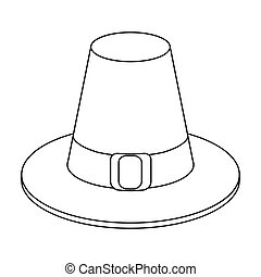 Pilgrim hat icon in outline style isolated on white...