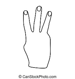 Three fingers icon in outline style isolated on white background. Hand gestures symbol stock vector illustration.