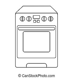 Kitchen stove icon in outline style isolated on white...