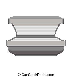 Tanning bed icon in monochrome style isolated on white background. Skin care symbol stock vector illustration.
