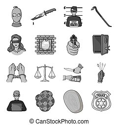 Crime set icons in monochrome style. Big collection of crime...