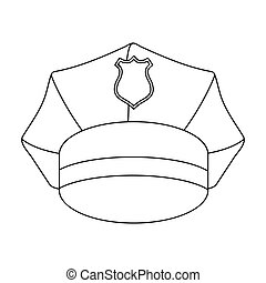 Police cap icon in outline style isolated on white background. Hats symbol stock vector illustration.