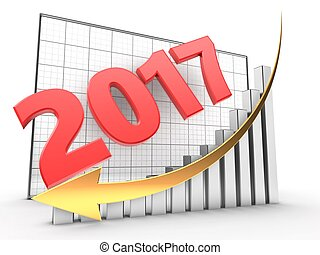 3d 2017 year - 3d illustration of 2017 year over grid...