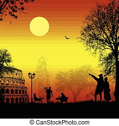 Travelers couple silhouette in Rome on sunset - Travelers...