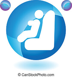 Baby Car Seat web button isolated on a background
