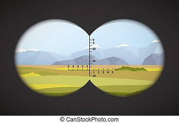 View from binoculars on landscape with fields