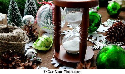 Christmas and New year background with presents, ribbons,...