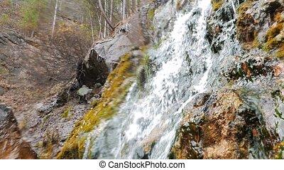 Rock and waterfall. Russia. UltraHD (4K)
