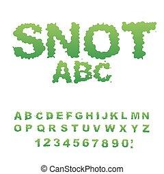 Snot-01.eps - Snot font. Snivel alphabet. Green slime...