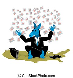 Blue Donkey Democrat meditates to vote in elections on USA map.
