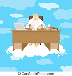 Snot-63.eps - God sitting in office. Almighty of work place...