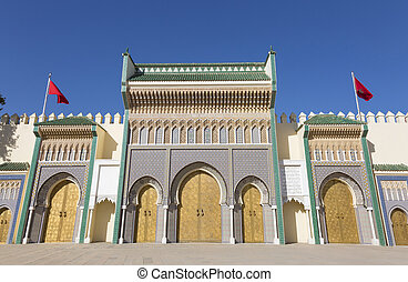 Fes, Morocco - Golden doors of Dar el Makhzen, Royal Palace...