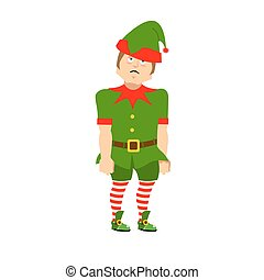 Snots-12.eps - Sad Christmas Elf. sorrowful helper of Santa...