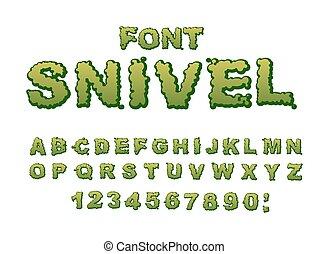 Snots-21.eps - Snivel font. Slippery lettering. Booger...