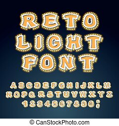 Retro Light font. Glowing letters. Alphabet with lamps.