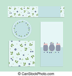 Homemade blueberry jam set. Flyer, banner, brochure, label,...