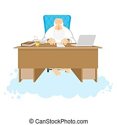 God job. Almighty of work place in heaven. Boss of paradise. Grandfather with beard at work. Holy of work desk. Laptop and phone. Cup of coffee and Bible. table in cloud