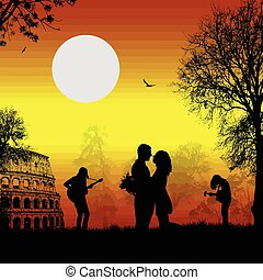 Guitarists playing in Rome with lovers on sunset -...