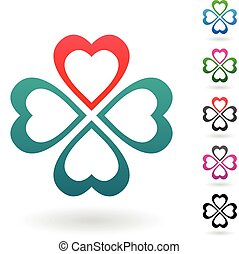 Abstract Colorful Four Leaf Clovers - Vector Illustration of...