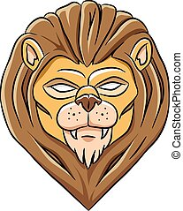 Scary Lion Head - Vector Illustration of a Lion Head with...