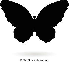 Black Butterfly Silhouette Illustration - Vector...
